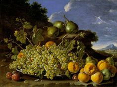 Mastery of light, expressive color, material quality and, above all, detail. Luis Meléndez (Naples, 1716-Madrid, 1780) has the ability to captivate the audience with a challenge to realism that transcends the canvas and the objects represented. / Luis Meléndez. Still life with a bowl of grapes, peaches, pears and plums in a landscape. Third quarter of the eighteenth century. Oil on canvas. 63 x 84 cm. Madrid, Museo Nacional del Prado.