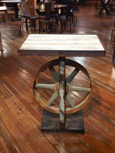 Console table with wheel base.