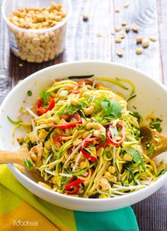 Pad Thai Zucchini Noodle Salad Recipe -- One meal salad that hits the Thai food spot, with half amount of calories and in under 20 minutes.