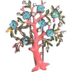 Rare+Trifari+1942+Tree+Clip+Pin+Pink+Blue+Enamel