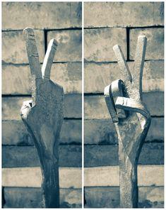 Hand forged hand. #art #blacksmith #metal #peace