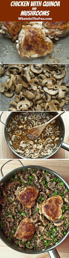 Chicken and Quinoa Skillet with Garlic and Mushrooms.  Healthy, gluten free recipe.