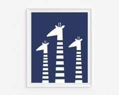 Navy blue kids room decor- Giraffes wall art print- Baby boy nursery art- graphic illustration- (A- 495) by cocoandmintstudio on Etsy https://www.etsy.com/listing/218681681/navy-blue-kids-room-decor-giraffes-wall