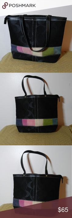 Authentic Coach Tote Very Nice Authentic Coach Tote- Black with multiple colors, This is a very clean purse and is EXCELLENT CONDITION !!! Size is a 15 X 11 with a 9.5 inch drop, Straps are 9 inches in length. Coach Bags Totes