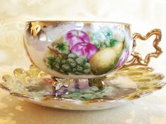 Stunning Unique Lustreware Tea Cup Saucer Maple Leaf Handle and Feet Reticulated Fruit Footed