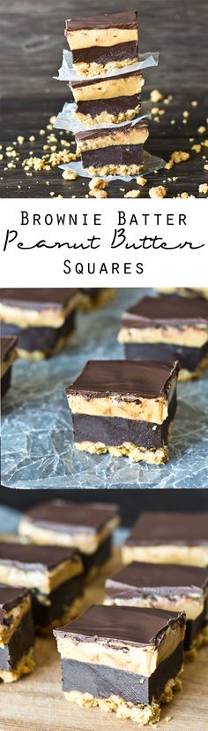 Brownie Batter Peanut Butter Squares on MyRecipeMagic.com. 4 Layer no-bake Brownie Batter Peanut Butter Squares. Ready in under 30 minutes to satisfy your chocolate and peanut butter cravings! Read more at http://myrecipemagic.com/recipe/recipedetail/brownie-batter-peanut-butter-squares#5gbOBAS5x8esPYuK.99