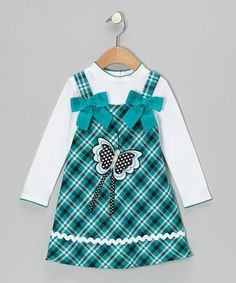Take a look at this White Top & Teal Butterfly Plaid Dress - Infant, Toddler & Girls by Youngland on #zulily today!