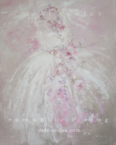 Beautiful tutu and rose wreath shabby chic style painting! Available at www.debicoules.com