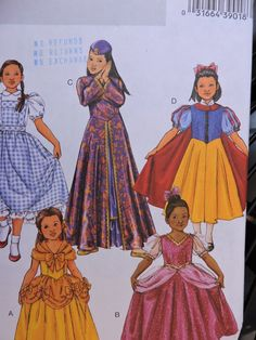 Dorothy Princess Snow White Classic Character Stage Play Halloween Butterick 4320 PATTERN Sizes 7 to 14 Sewing Patterns For Kids, Cool Patterns, Dress Patterns, Halloween Costume Patterns, Halloween Costumes, Halloween Stuff, Diy And Crafts Sewing, Diy Crafts, Princess Costumes