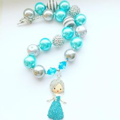 Elsa Frozen Chunky Bubblegum Bead Necklace. HandMade by me at BellaLola Boutique. I love creating for girls of all ages. Every little girl loves to dress up and this will add a little glitz to any outfit. Great for any occasion or just to play dress up. Birthday gifts, favors, kids accessories, jewelry