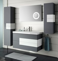 By installing a corner bathroom sink cabinet design, a stylish interior element appears. Bathroom Vanity Store, Discount Bathroom Vanities, Corner Sink Bathroom, Bathroom Sink Design, Bathroom Sink Cabinets, Bathroom Interior Design, Bathroom Furniture, Modern Bathroom, Small Bathroom