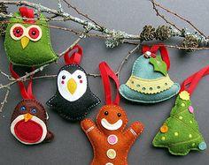 Deluxe Box Of Handmade Felt Christmas Decorations