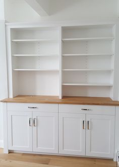 lovely simple white and oak alcove unit by Chalkhouse Interiors