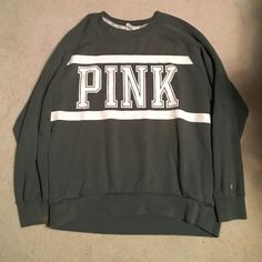 PINK Sweatshirt Green pink crew neck PINK Victoria's Secret Tops Sweatshirts & Hoodies