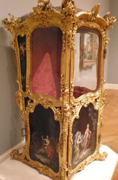 French sedan chair, with painted panels attributed to Charles-Antoine Coypel, early century, gilt wood and glass, France. French Furniture, Antique Furniture, Antique Chairs, Classic Furniture, Marie Antoinette, Versailles, Antique Boxes, Objet D'art, Furniture Styles