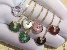 Original Cartier Amulette De Necklace 18K Gold Jewelry with Diamond Onyx Pendant