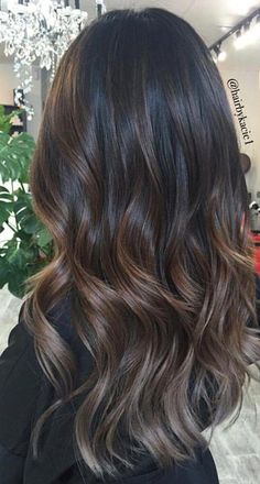28 Amazing Gray Ombré Inspirations - Hair Colour Trends for 2019 Gray Ombré Silver, graphite, steel, mother-of-pearl, a tint of asphalt … All possible variations on the theme of gray are the main tren Brown Hair Balayage, Balayage Brunette, Hair Color Balayage, Brunette Hair, Hair Highlights, Chocolate Brown Hair With Highlights, Ombre Bayalage, Dark Brunette Balayage Hair, Dark Chocolate Hair