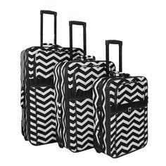 World Traveler Chevron 3 Piece Expandable Upright Luggage Set - 818903-165B-W