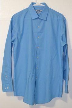 DKNY Blue Slim Fit Natural Stretch Long Sleeve Button Down Men's Shirt 16 32/33 #DKNY