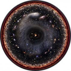 The universe is so vast it's almost impossible to picture what it might look like crammed into one field of view. But musician Pablo Carlos Budassi managed to do it by combining logarithmic maps of the universe from Princeton and images from NASA. He created the image below that shows the observable universe in one disc.