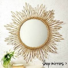 shop mirrors - gold brass rattan