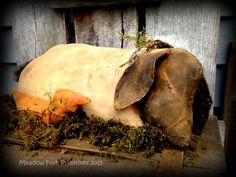 Primitive Folk Art--Lazy Summer Days--Sleeping Lamb with Tiny Duck--Vintage, Old, Farmhouse, Sheep, Hafair Team by MeadowForkPrims on Etsy