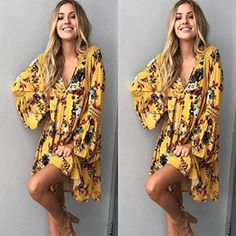 a29e0264cebd Women Boho Floral Long Maxi Evening Party Cocktail Beach Mini Dress Sundress  Product information  Occasion Casual