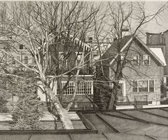 """""""Ogden Avenue"""", 1977, Catherine Murphy, American (b. 1946), lithograph on paper, 11 1/2 x 14 in. Museum purchase, 1977. 1977.2482"""