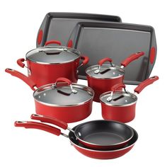 Shop a great selection of Rachael Ray Classic Brights Porcelain Cookware Set Bakeware, Red Gradient. Find new offer and Similar products for Rachael Ray Classic Brights Porcelain Cookware Set Bakeware, Red Gradient. Rachel Ray, Rachael Ray Cookware Set, Pots And Pans Sets, Beyond The Rack, Pan Set, Kitchen Gadgets, Kitchen Stuff, Kitchen Ideas, Red Kitchen