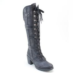New Brieten Women's Lace up Low Heel Knee High Black Dress Boots ** See this great product.