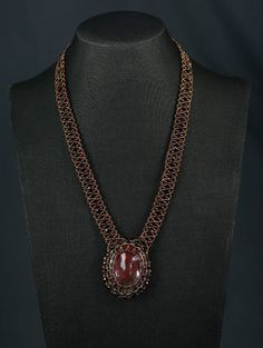 Red Empress Necklace and Earring Set Bead Weaving, Earring Set, Seed Beads, Garnet, Bronze, Pairs, Chain, Elegant, Pretty