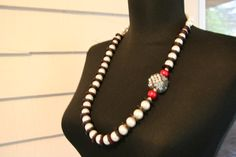 20 inch Glass Pearl and wood necklace by Beauje on Etsy, $50.00