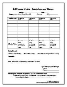 RtI Speech Therapy Progress Report - Free!
