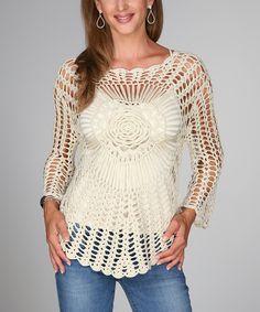 Love this Ananda's Collection Beige Flower Crocheted Long-Sleeve Top by Ananda's Collection on #zulily! #zulilyfinds