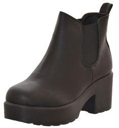 Chunky Ankle Boot Black : Black - - Chunky Ankle Boot Black Black from Peppermint Girls Dream, Black Ankle Boots, Peppermint, Chelsea Boots, Booty, Amazing, Cute, Shoes, Fashion