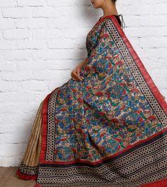 Multicoloured Khadi Tussar Silk Saree with Madhubani | Saree Sansar