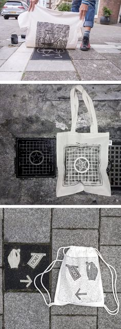 "The urban printing collective raubdruckerin (aka ""Pirate Printers"") uses manhole cover designs and other utility covers to print shirts and tote bags."