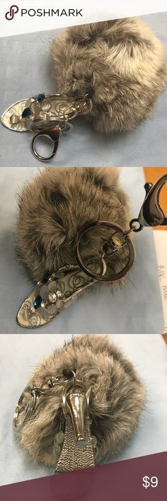 Bedazzled shoe and fluff keychain Brand new, never used key chain. Silver ring with crystal studded shoe. Big gray fluff also attached. You could take one off if you wanted to and make it into 2 keychains. Accessories Key & Card Holders