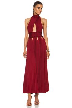 GIVENCHY Pleated Cut Out Cross Front Viscose-Blend Dress in Red