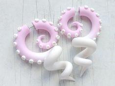 Lolita fake gauges, yami kawaii octopus earrings, fairy kei fake plugs, cute tentacle earrings, past Fake Plugs, Faux Gauges, Gauges Plugs, Plugs Earrings, Silver Drop Earrings, Minimalist Jewelry, Minimalist Earrings, Custom Ear Plugs, Kawaii Jewelry