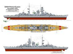 KSM Prinz Eugen - Planimetria - Incrociatore pesante classe Admiral Hipper - Dislocamentoa vuoto 14475 t a pieno carico: 18400 t Lunghezza210 m Larghezza21.9 m Pescaggio7.9 m PropulsioneTurbine Brown Boveri a ingranaggi su 3 assi (132000 HP) Velocità33.4 nodi Autonomia7,200 miglia marine (20 nodi) Equipaggio1450
