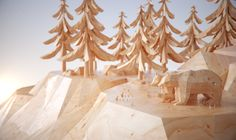 Benjamin Benhaim artist - we are wild - Nuts Computer Graphics Wood Sculpture, Sculptures, Low Poly Games, 3d Landscape, Low Poly 3d Models, Cinema 4d, 3d Artist, Art Background, Creative Industries