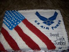 All buttercream frosting with a Color Flow Air Force Logo. Made for my cousin who was leaving for the Air Force.