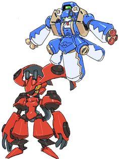 Medabots/Medarots Ptolemy (red) and Blazer-Multi (blue)