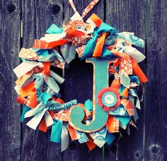 Initial ribbon scrap wreath (and other party ideas)
