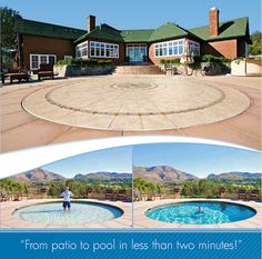 If you enjoy having a patio but don't have room for a pool, you may consider the Hidden Water Pool. With mechanical controls, the concrete patio can be lowered to various depths and create a pool of water for all swimmers. This design is great for safety Hidden Water Pool, Hidden Swimming Pools, Outdoor Spaces, Outdoor Living, Pergola, Deco Nature, Kid Pool, Dream Pools, Cool Pools