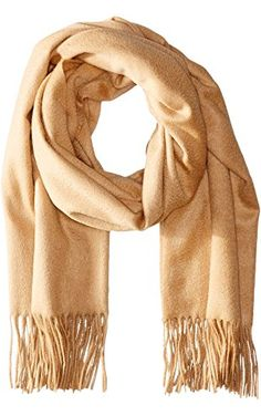 Sofia Cashmere Women's 100 Percent Cashmere Fringed Stole Scarf, Camel, One Size ❤ Sofia Cashmere Women's Accessories