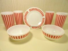 Vintage 7 PC Lot of Hazel Atlas Plate Bowls Tumblers