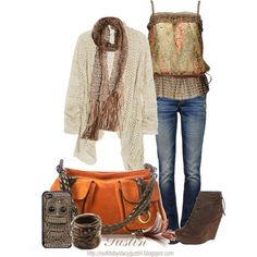 brown and orange, created by stacy-gustin - I love pretty much all of this girl's stuff