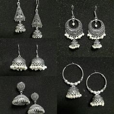 Pretty Boho Earrings   See this Instagram photo by @i_heartfashionstore • Silver Jewellery Indian, Indian Wedding Jewelry, Indian Earrings, Bridal Jewelry, Antique Jewellery, Silver Jewelry, Jewelry Design Earrings, Ear Jewelry, Unique Earrings